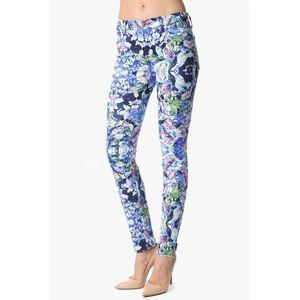 7FAM Floral Kaleidoscope Skinny Jeans